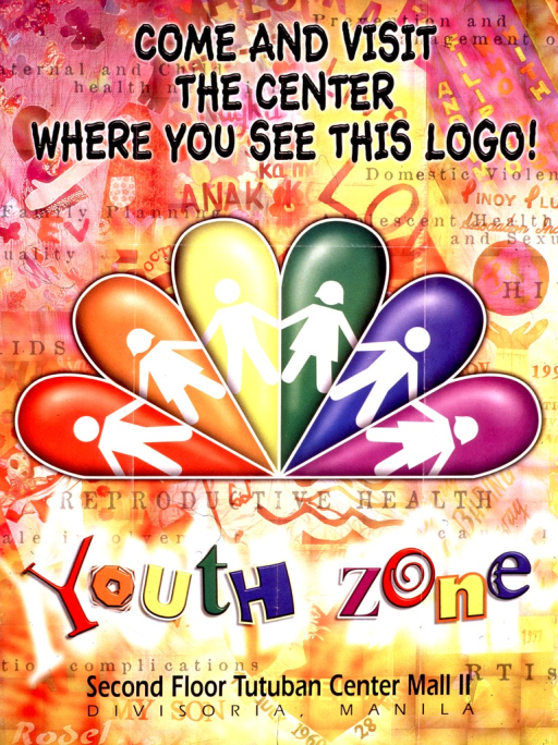 <p>Multicolor poster.  Initial title phrase at top of poster.  Dominant visual image is a string of daisy-chain figures on a rainbow-colored fan.  Remaining title phrase below image.  Center location listed at bottom of poster.  Publisher information on verso.</p>