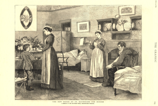 <p>Nurses are shown tending to patients in a hospital ward.  One of the nurses arranges flowers with a young child.  Another nurse stands before a seated man and holds a beaker and glass of medicine in either hand.  In the background, a patient in bed covered with a blanket faces the back wall.  The insignia of the order appears in the upper right corner of the print.</p>