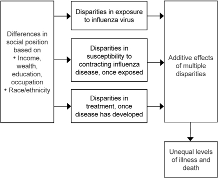 Possible sources of disparities during a pandemic influenza outbreak.