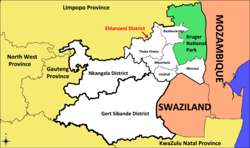 Mpumalanga province. A map of Mpumalanga Province in relation to Mozambique and Swaziland (Source: Mpumalanga Malaria Elimination Programme (unpublished)).