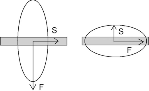 Positive (left) and negative (right) sign of elongation. S and F refer to the slow and fast rays, respectively.