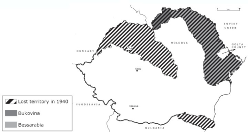 Map of Romania with the lost territories in 1940.