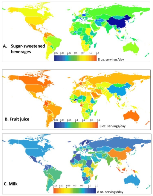 Consumption of non-alcoholic caloric beverages in 187 countries worldwide.A) SSBs, B) Fruit juice, C) Milk. Mean country-level beverage consumption levels in servings/day are represented by the color scales in each panel. Note that the scale range differs in each panel.