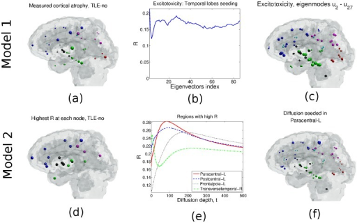TLE-no case, Model 1: (a) Cortical/subcortical atrophy obtained from t-statistics of epileptic and healthy groups' volumetrics. (b) R vs. the number of eigen-modes Eq (10) used for neuronal atrophy estimation. (c) Atrophy distribution estimated using Model 1 and eigen-modes u2 − u27. Model 2: (d) Correlation R of group atrophy and Φ2 obtained when each node is seeded. (e) R vs. graph diffusion depth t. Left paracentral gives the maximum R, followed by the left post central and the left frontal pole. (f) Neuronal atrophy estimate obtained from Model 2 when the paracentral lobe is seeded.