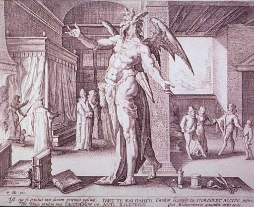 <p>Allegorical figure of the physician as the devil standing among books and tools of the medical professions. Interior view, two scenes: the patients have recovered fully and the physician has come to collect his fee.</p>