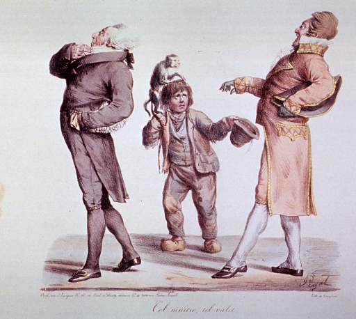<p>Caricature:  A begger boy with a monkey on his shoulder, holds out his hat as two well dressed men saunter by.</p>