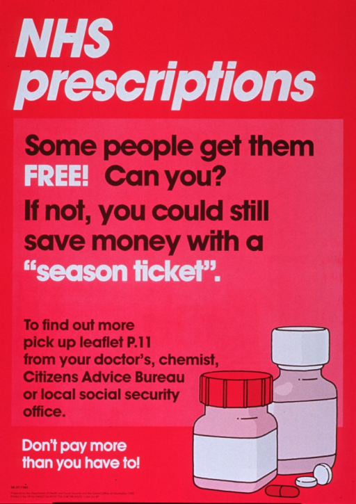 <p>Fuchsia poster with white and black lettering.  Title at top of poster.  Note below title.  Additional text describes a brochure explaining the prescription program.  Visual image is an illustration of two pill bottles and a couple of pills.  Caption and publisher information in lower left corner.</p>