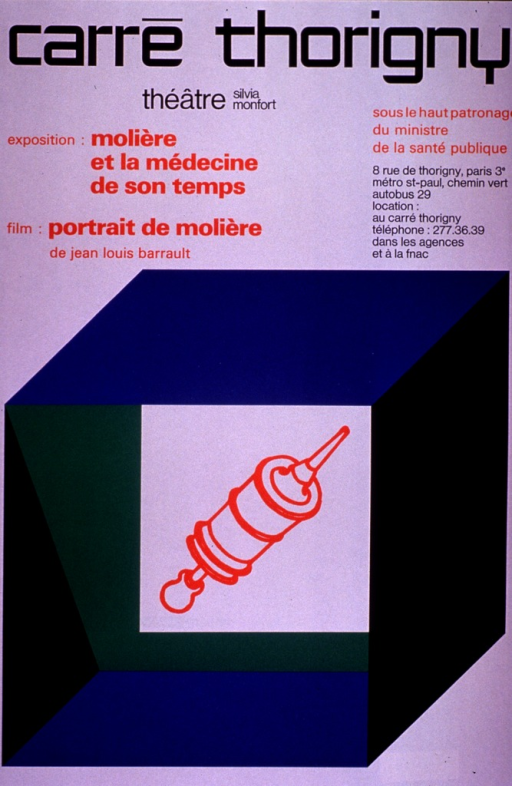 <p>Multicolor poster with black and orange lettering.  Publisher information at top of poster.  Title below publisher information.  Sponsor information on right side of poster.  Visual image is an illustration of a syringe surrounded by a hollow cube.</p>