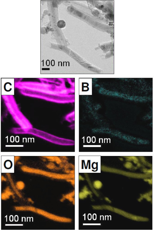 Energy filtered TEM images of carbon nanotubes produced from phenylboronic acid in a MgO matrix. The images show a carbon outer shell and a core (nanowire) comprised B, O and Mg. Top image-zero loss image. The C, B, O and MgO energy filtered TEM images are presented in false colour. Reprinted with kind permission from Bachmatiuk et al. [34].