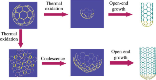 Proposed mechanism for the growth of single walled carbon nanotubes using thermally opened C60 caps according to Yu et al. [50]. Reprinted with permission.