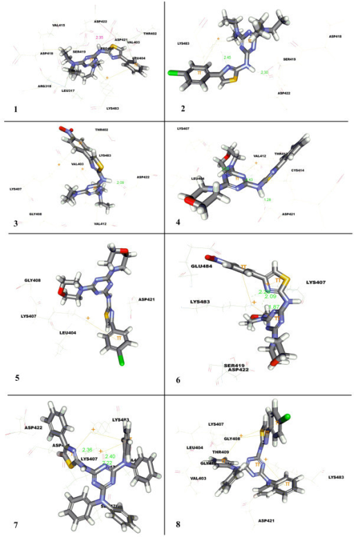 Docked pose of compounds 1-8 in Leu-tRNA synthetase.
