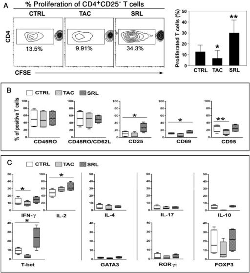 SRL-treated B cells enhances the proliferation and differentiation of CD4+ T cells.Purified CD19+ B cells were pre-stimulated for 6 days with anti-IgM, anti-CD40 mAb and IL-21 in the absence (CTRL) or presence of 6ng/ml TAC or SRL. These cultured B cells were used as stimulators in 6-day MLRs of allogeneic CFSE-labelled CD4+CD25− T cell responders. (A) Level of proliferation differentially induced by pre-cultured B cells as detected by CFSE dilution in the allogeneic CD4 responder cells (representative experiment on the left, and compiled data from 8 independent experiments on the right). (B) Percentage of responding T cells positive for memory marker (CD45RO) and activation markers (CD62L, CD25, CD69, CD95) after co-culture with pre-stimulated B cells (n = 8); (C) Mean ± SD (n = 4) percentage of responding proliferating T cells expressing intracellular cytokines (top row) and transcription factors (bottom row). Taken together the data indicated that B cells that proliferated in presence of SRL on a per cell basis were capable of inducing alloreactive T cell proliferation towards a Th1 phenotype. *p < 0.05. ** p < 0.01.