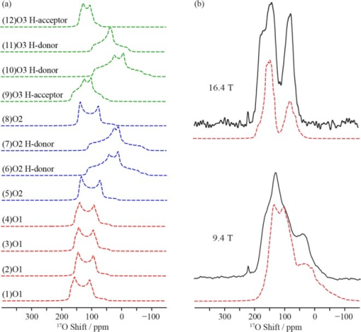 (a) Simulation of the GIPAW calculated 17O NMR spectraof the 12 sublattice O sites occurring in the lowest energy optimizedstructure I of Ba2In2O4(OH)2. All of the spectra were simulated at 9.4 T. (b) Comparison of theexperimental 17O NMR spectra of 17O enrichedBa2In2O4(OH)2 (black lines)and the sum of the simulation of the GIPAW calculated 17O NMR spectra (dashed red lines) of all O sites of the four lowerenergy structures Ba2In2O4(OH)2 (I, J, K and L, combined with relative weights of 0.25, 0.11,0.11 and 0.15) at 9.4 and 16.4 T.