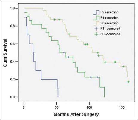 Survival rates as a function of the modus operandi (R0 resection vs. R1 resection vs. R2 resection, P = 0.000 RR = 3.21 [95% confidence interval 1.90, 5.42], 71 patients).