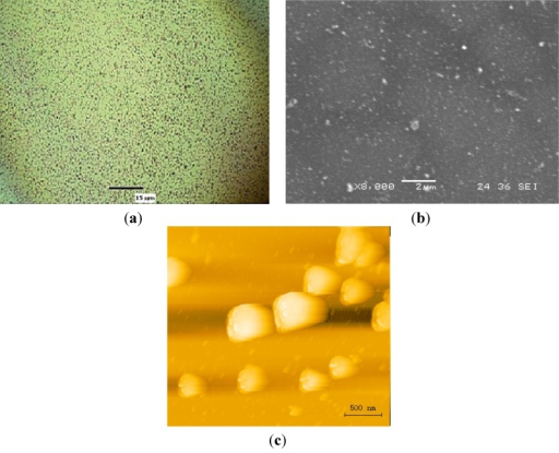 Gold nanoparticles on the surface of silicon substrate (setup 5). (a) Optical image, (b) SEM image and (c) AFM image.