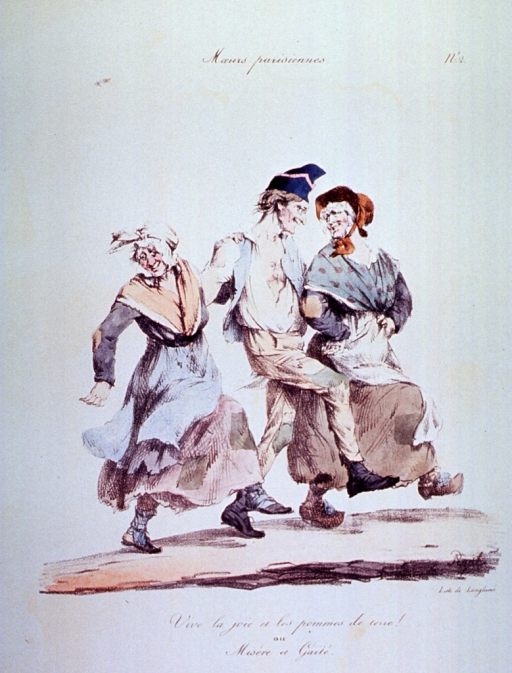 <p>Caricature:  A man and two women wearing ragged clothing, skip gaily along arm in arm.</p>