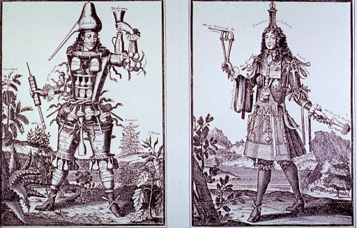 <p>Two vignettes illustrating caricatures of the clothing styles of 18th century apothecaries and surgeons.</p>