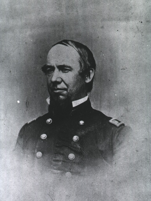 <p>Head and shoulders, full face, wearing uniform from Civil War period.</p>