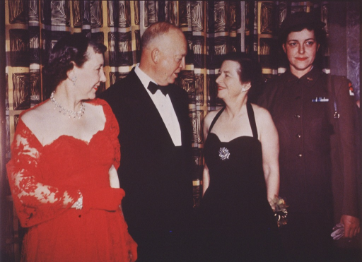 <p>Group at National Press Club dinner, May 2, 1953, when receiving award for Woman of the Year in Science.  Left to right, Mrs. Eisenhower, President Eisenhower, Mrs. Wilder and Lieut. Mildred L. Rush, U.S. Army Nurse Corps.</p>