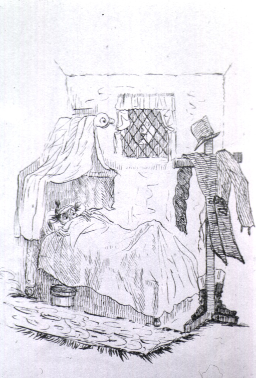 <p>A man in bed peers from under a bed spread; at the foot of the bed is a clothes horse in the form of a human being. A coat and hat are draped on the clothes horse as they would be on a person; two boots are positioned at the feet of the clothes horse.</p>