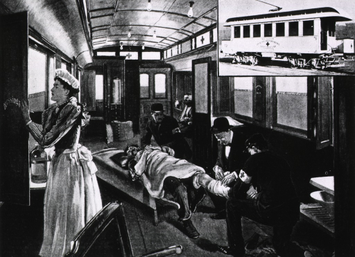 <p>A trolley ambulance car [interior view showing treatment of patient, and exterior view - organized by Dr. George Homan, Health Commissioner for St. Louis, Mo.</p>
