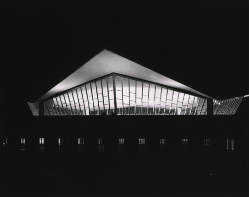 <p>Exterior view: mezzanine lighted at night.</p>