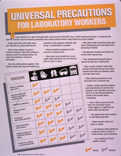 <p>Predominantly white poster with multicolor lettering.  Title at top of poster.  Poster dominated by text explaining steps that lab workers should take when handling blood and bodily fluids.  Text is summarized in a chart, using yellow and gray check marks to note precautions that should always be followed and those which are optional, depending on the procedure.  Precautions include hand washing, wearing gloves, wearing gowns, wearing goggles, and using biological safety cabinets.  Illustrations symbolizing the precautions appear at the top of the chart.  Publisher information in lower left corner.</p>