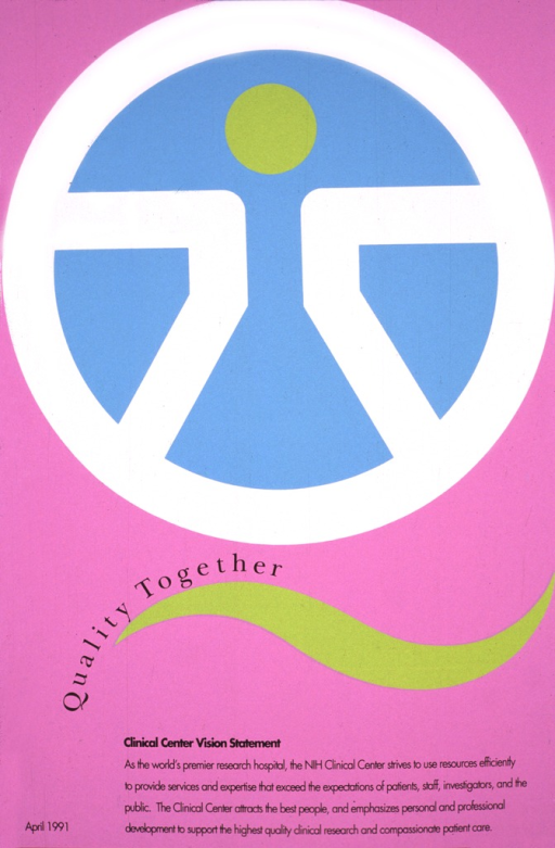 <p>Pink poster with the Clinical Center logo covering two-thirds of the poster, done in white, turquoise, and green.</p>
