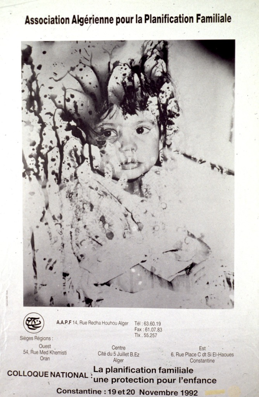 <p>White poster with black lettering.  B&amp;W photo reproduction showing a young child dominates poster.  Photo is manipulated to appear spattered; only about half of the child's face is visible.  Publisher information and title below photo.</p>