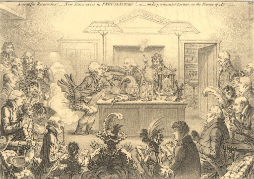 <p>A burlesque on the Royal Institution, which had been recently founded. A group of fashionable people sits in a semi-circle and watches an experiment that takes place at a table in the center of a lecture hall. The lecturer experiments on another man by administering gas through a tube inserted in the latter's mouth while he pinches the subject's nostrils. The result is a violent explosion of flame and smoke from the subject's breeches. Audience members variously hold their noses, take snuff, write notes, or react with surprise.</p>