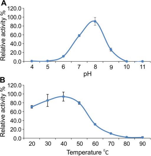 Effect of pH and temperature on LipA enzyme activity. (A) The influence of pH on activity was determined using 1 mM pNP-caprylate in 100 mM buffers (pH 4.0-5.0 acetate buffer, pH 6.0-9.0 phosphate buffer, pH 10.0-11.0 carbonate buffer) at 40°C for 30 min. (B) The influence of temperature was determined in a range from 20-90°C using 1 mM pNP caprylate in 100 mM phosphate buffer pH 7.0 for 30 min. The test was performed in triplicate and the average values were transformed in the relative activity (%).