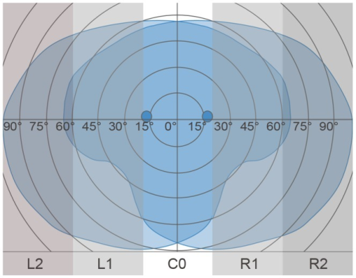 Distribution of the five different AOIs over the visual field for the assessment of HGD.