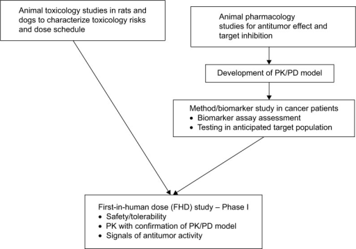 Preparing for the first-in-human dose (FHD) study.Note: Standard Good-Laboratory Practice (GLP) animal toxicology studies were performed as well as a pharmacokinetic/pharmacodynamic (PK/PD) model established prior to the FHD study.