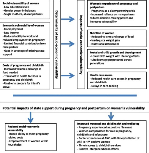 Conceptual framework showing determinants and impacts of socio-economic vulnerability among pregnant women