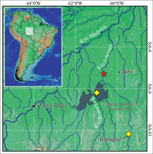 Collecting localities of Mylopluszorroi in Rio Madeira Basin represented by the star and diamonds, (★) type locality.