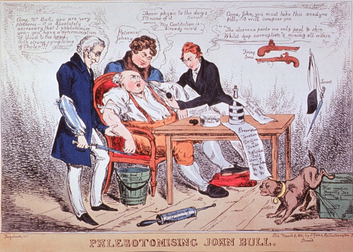 <p>First Duke of Wellington, King George IV, and Sir Robert Peel, depicted as doctors, prepare to bleed and dose a faint and failing John Bull, slumped in a chair before a table.</p>