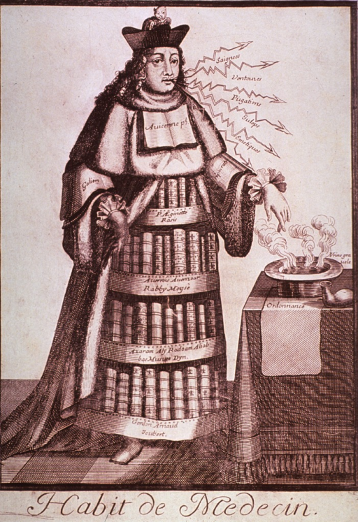 <p>Caricature of an 18th century physician's dress; one hand has pulled away the outer garment to reveal an undergarment comprised of bookshelves. A monkey is sitting in his hat.</p>