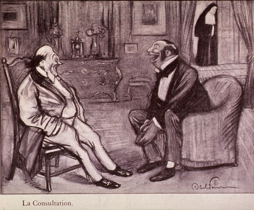 <p>Two physicians sit in a parlor, laughing and joking.  A nun is standing in the doorway in the background.</p>