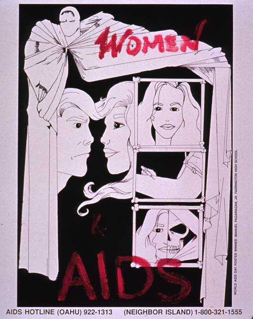 <p>Side one of the poster is in black and white with the title in bright pink. The visual shows several drawings of a woman, all framed by fabric arranged to look like a curtain. The left side shows the profiles of a young man and a young woman facing each other. The right side shows three drawings, one under the other, showing the woman before using drugs, in the process of drug use, and after. They consist of: the  face of a young woman, the arm of a person using a needle for drugs, and the face of a young woman with the right half appearing as a human skeleton. The second side of the poster is text only, all of which is in Chinese with the exception of the hotline information.</p>
