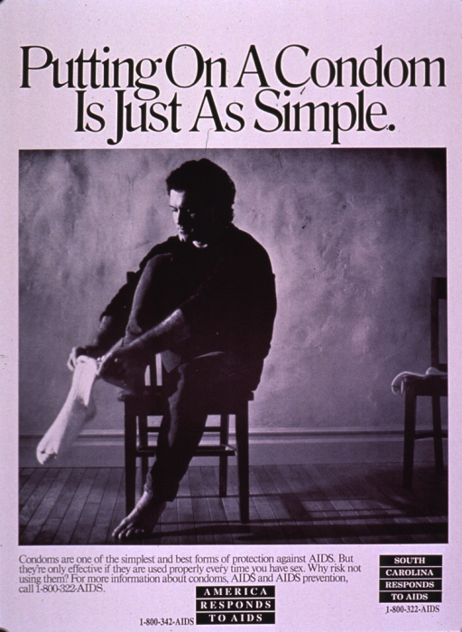 <p>Predominantly white poster with black and white lettering.  Title at top of poster.  Visual image is a b&amp;w photo reproduction featuring a man putting a sock on his foot.  Caption below photo.  Notes, presented as logos, near bottom of poster.</p>