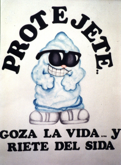 <p>Above a smiling condom with sunglasses and big shoes is: Protejete (Protect yourself).  Below the shoes is: goza la vida-- y riete del sida (enjoy life-- laugh at AIDS).</p>