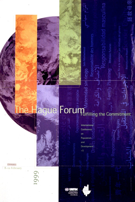 <p>Multicolor poster.  Title in center of poster.  Background on right side of poster features text phrases relevant to population and rights.  Abstract design on left side of poster.  Conference dates and publisher information near bottom of poster.</p>