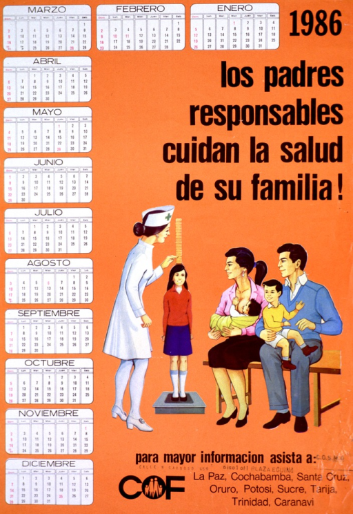 <p>Predominantly orange poster with black lettering.  Title near upper right corner.  A calendar for 1986 runs across the top of the poster and down the left side.  Visual image is an illustration of a nurse measuring the height of a school-aged girl while four family members look on.  Publisher information at bottom of poster.</p>