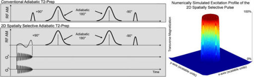 Schematic representation of the 2D spatially selective adiabatic T2-Prep and the corresponding numerically simulated excitation profile.