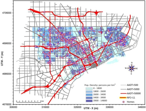 Map of modeled road network in study area, and locations of 218 homes of participants in NEXUS. Shaded area defines city of Detroit and population by Census Block group. Axis scales are Universal Traverse Mercator coordinates (m). AADT is annual average daily traffic (vehicles/day). Highlighted roads are National Functional Class 11, called high diesel/high traffic roads in NEXUS. Windsor, Canada (not shown), is immediately to the south-east.
