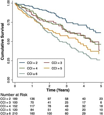 Kaplan-Meier survival curves for time to death stratified by CCI Score groups