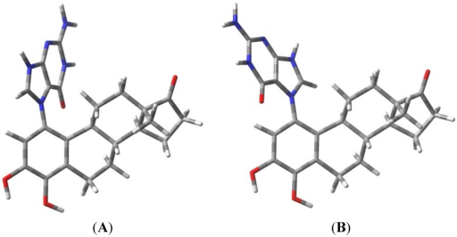 Rotameric forms of the 4-OHE1-1-N7Gua estrogen-DNA adduct. (A) The α-isomer with purine ring system pointed away from the viewer; (B) The β-isomer with purine ring system pointed towards the viewer.