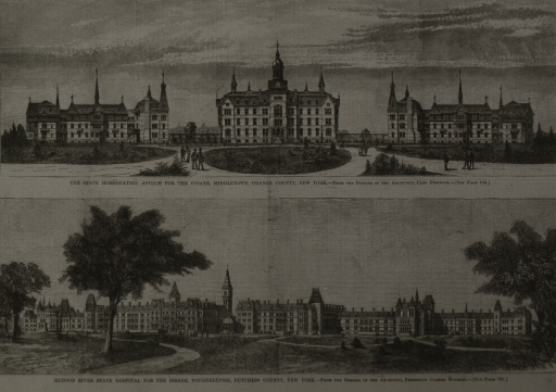 <p>Exterior view, front approach, with a few people on the grounds.  Below is a similar view of Hudson River State Hospital for the Insane, Poughkeepsie, N.Y.</p>