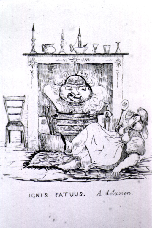 <p>A woman wearing a kerchief and apron lies sprawled in front of a fireplace.  In the fireplace a fire roars under a suspended kettle that bears features of a human face.</p>