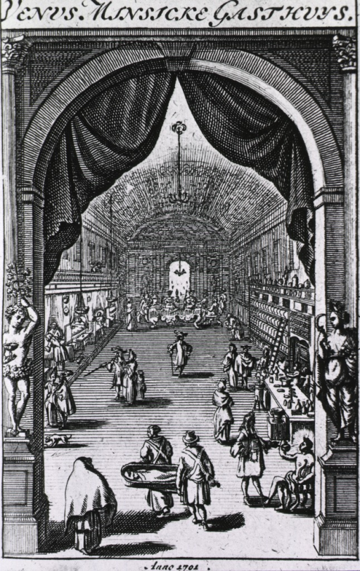 <p>View through an arch into a large hall; on the left is a ward, on the right is an apothecary; several people are moving about, and two men are arriving with a patient.</p>
